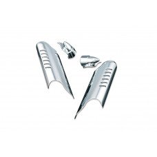 kuryakyn 7768 - Chrome Lower Leg Deflector Shields with Fender Boss Covers